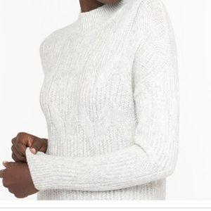 Cable Knit Mock Neck Sweater Light Grey